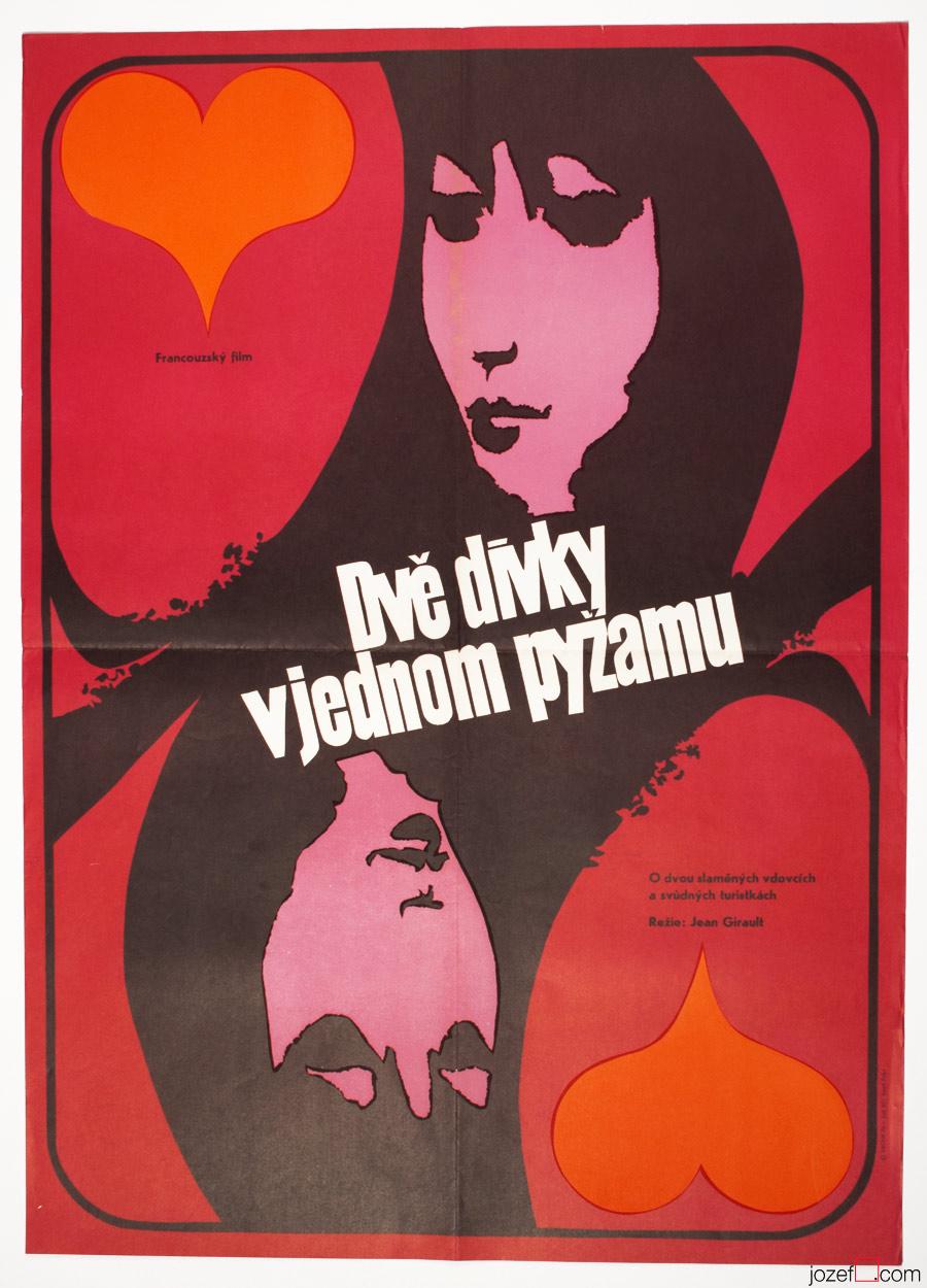 Two Girls in Pyjamas, 70s Poster Art