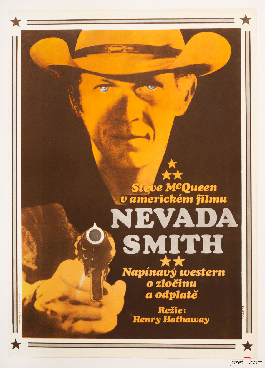 Nevada Smith Movie Poster, 60s Vintage Poster Art