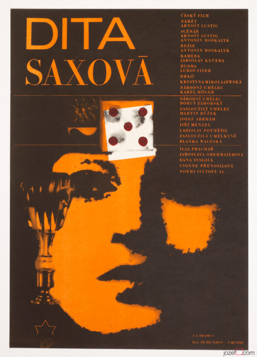 Dita Saxová Movie Poster, Zdenek Ziegler 60s Artwork