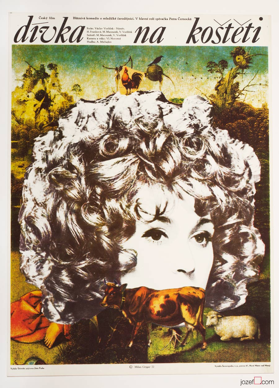 The Girl on the Broomstick, Surreal Poster Art