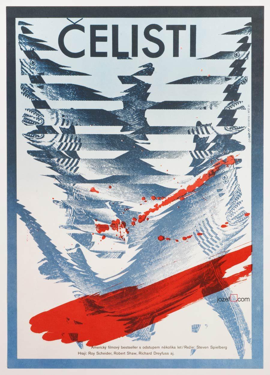 Jaws Movie Poster, Zdenek Ziegler 80s Artwork