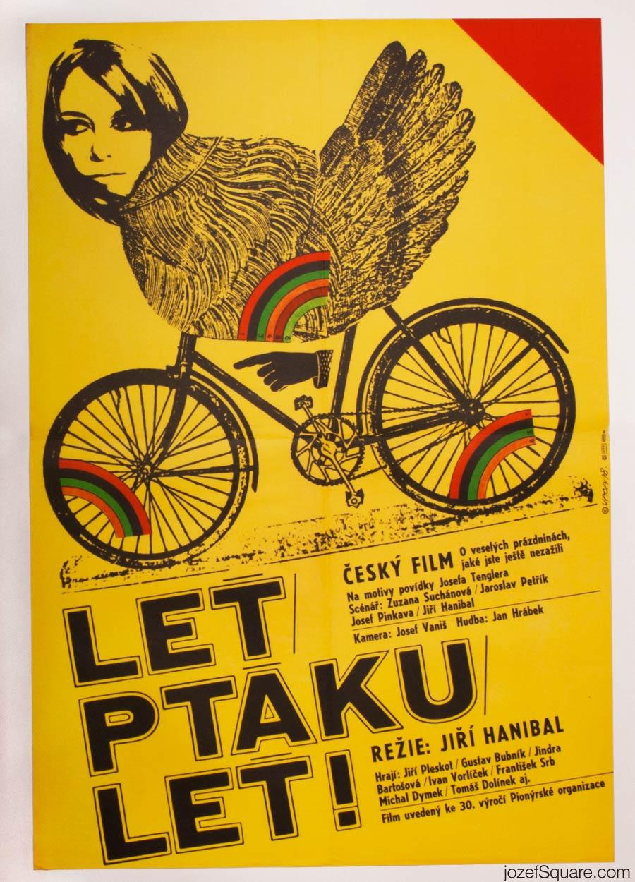 Fly, Bird, Fly Movie Poster, Karel Vaca 70s Artwork