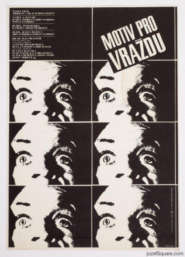 Motive for Murder Movie Poster, 70s Artwork Karel Vaca