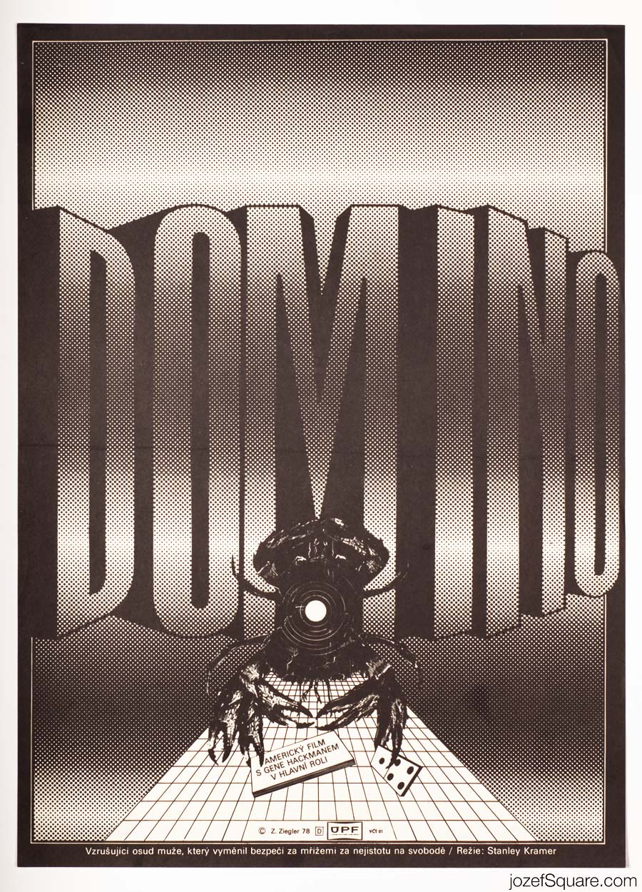 The Domino Principle Movie Poster, Zdenek Ziegler 70s Artwork