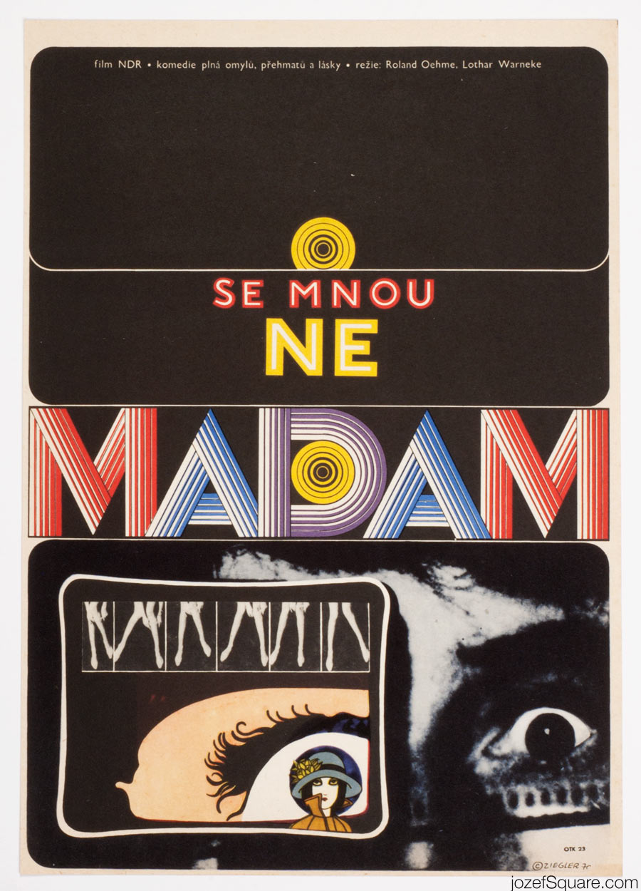Not with me, Madam Movie Poster, 70s Artwork, Zdenek ZIegler