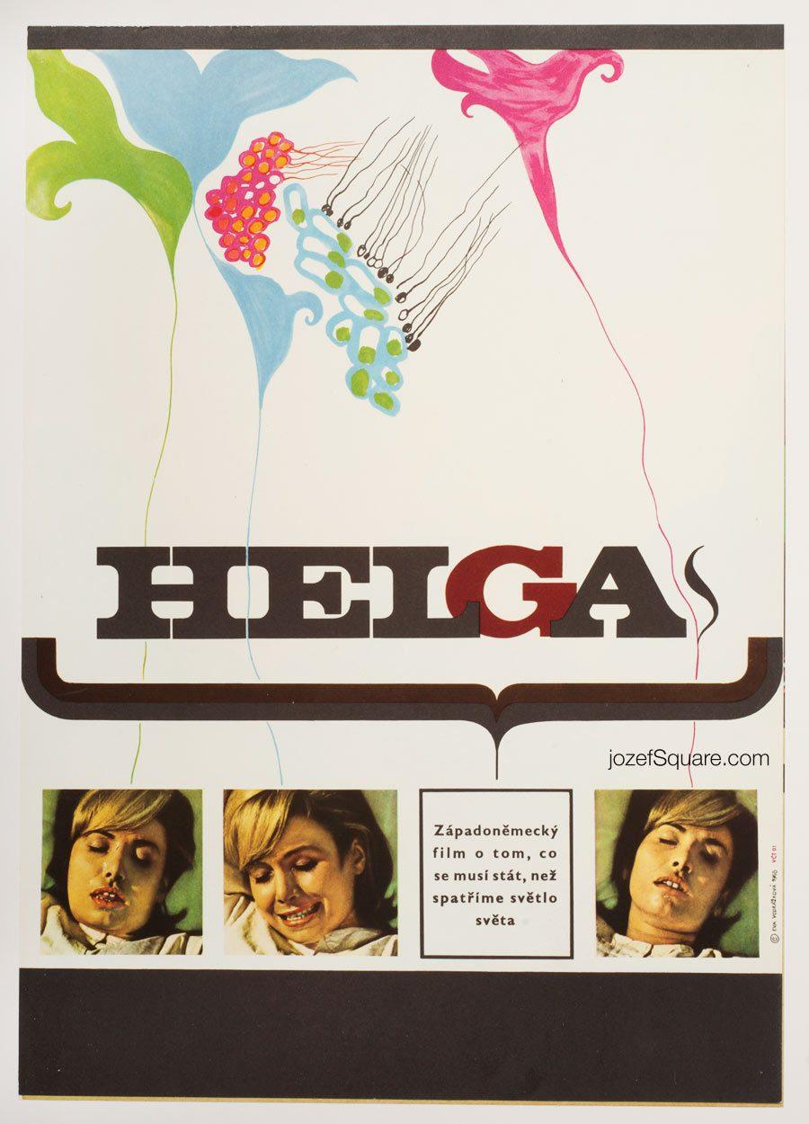 Helga Movie Poster, West German Documentary, 60s Poster