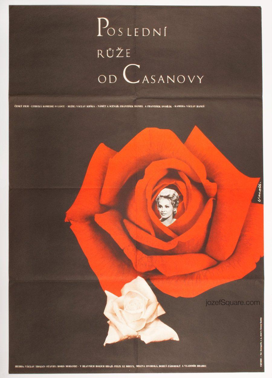 Last Rose from Casanova Movie Poster, Karel Vaca, 60s Artwork