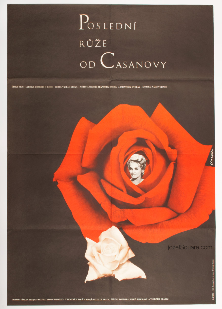 Last Rose from Casanova Movie Poster, Karel Vaca, 60s Artwork
