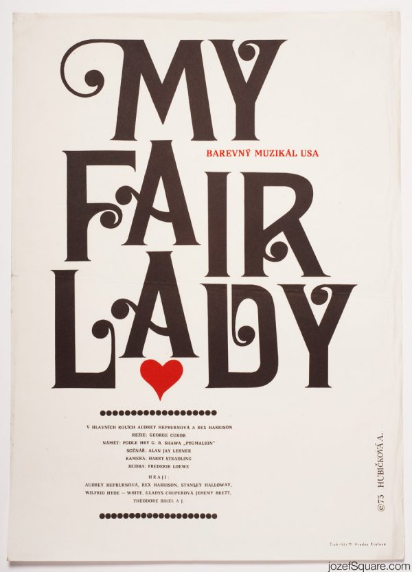 My Fair Lady Movie Poster, 70s Typography Poster Art