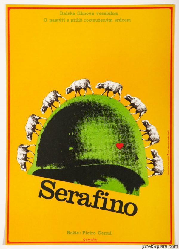 Serafino Movie Poster, Adriano Celentano, 70s Poster Art