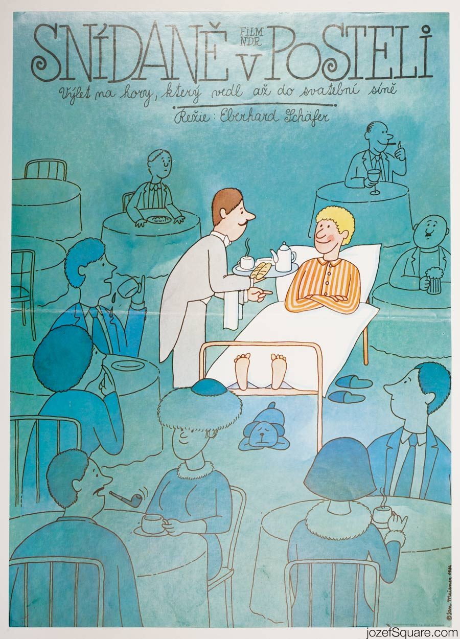Breakfast in Bed Movie Poster, 80s Illustrated Poster Artwork