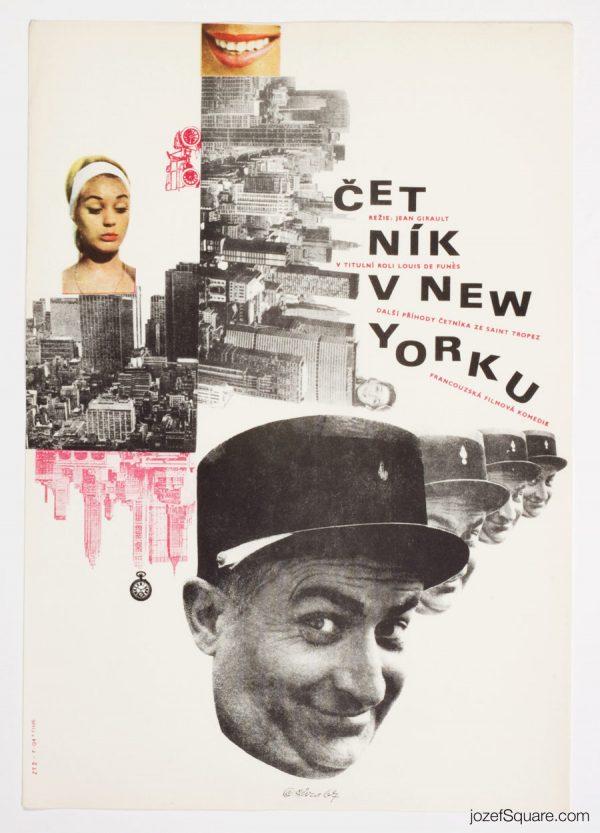 The Troops in New York, Louis de Funes, Collage Poster Art