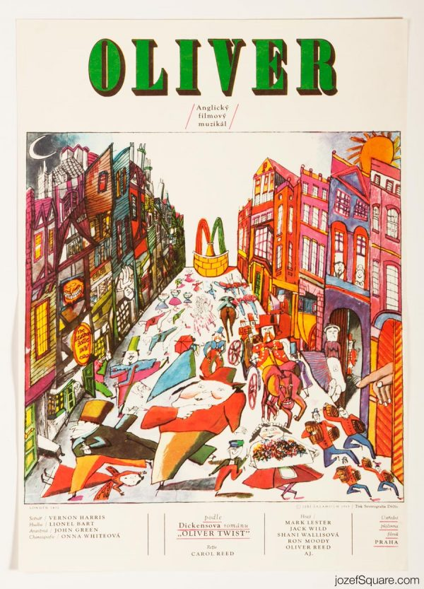 Oliver Movie Poster, 60s Illustrated Poster Art