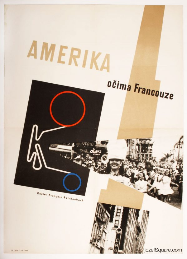 America As Seen by a Frenchman Movie Poster, 60s VIntage Poster Art