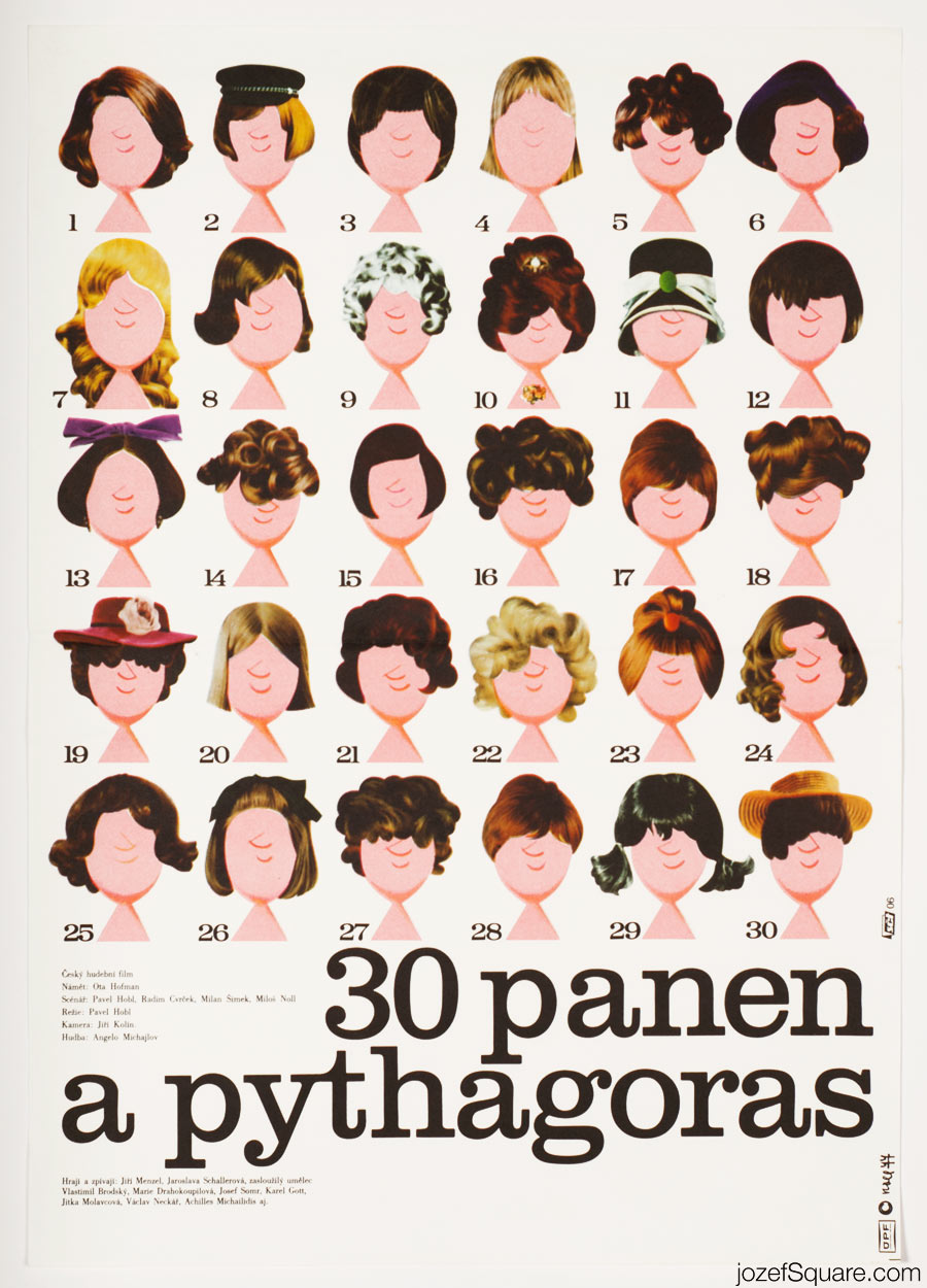 Thirty Maidens and Pythagoras Movie Poster, 70s Poster Art