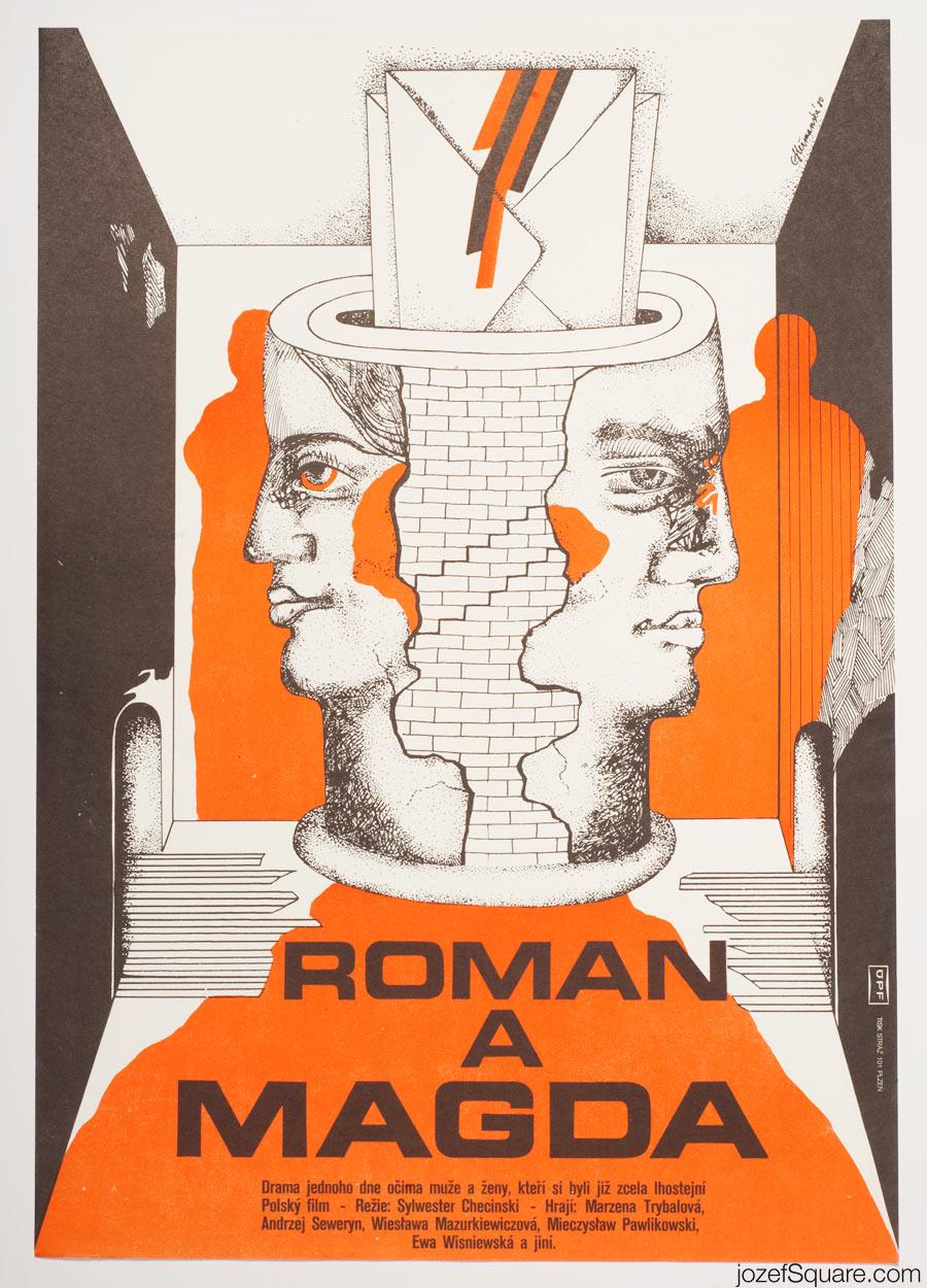 Roman and Magda Movie Poster, Surreal Poster Art