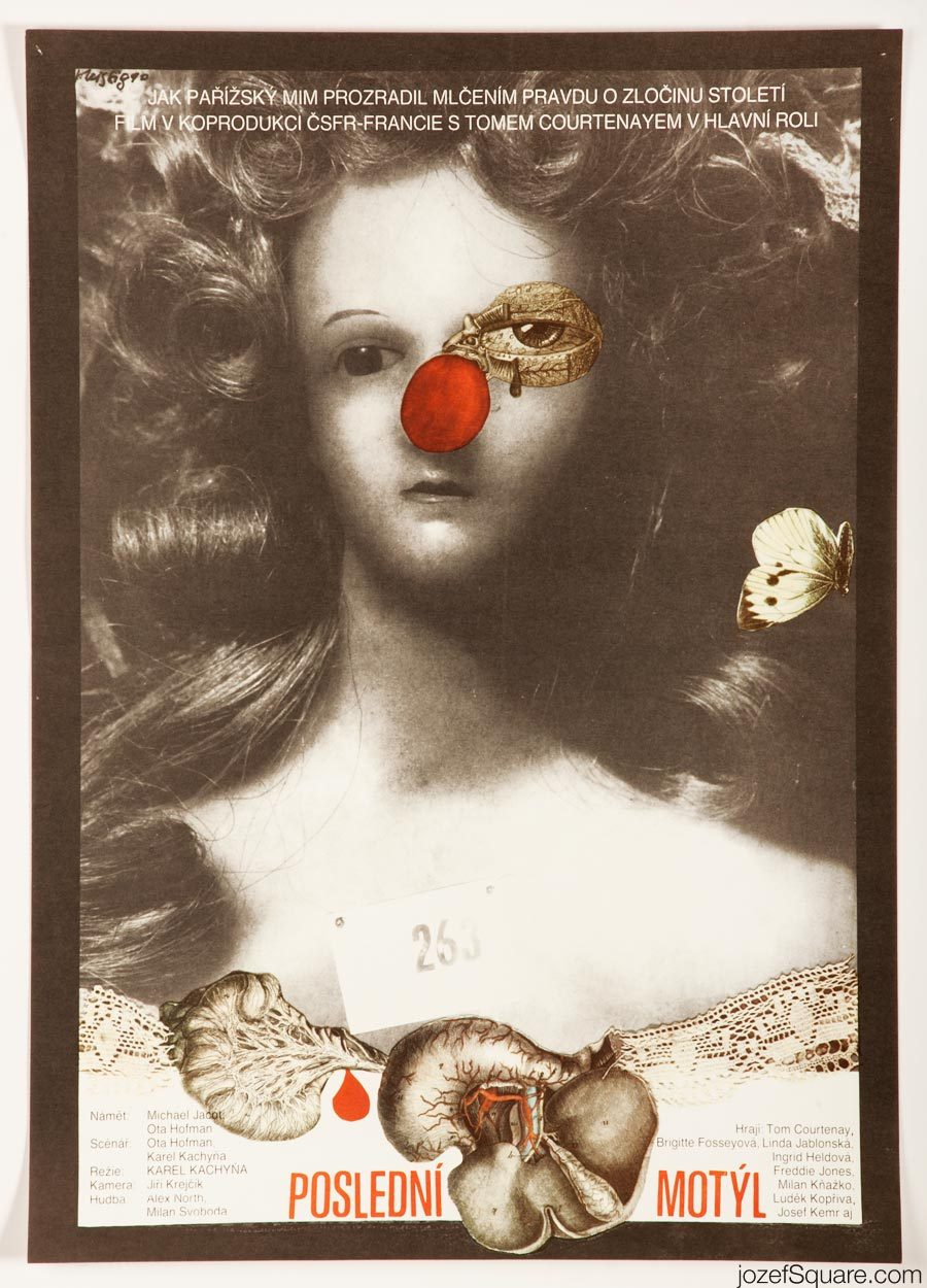 The Last Butterfly Movie Poster, Surreal Collage Poster Art, Karel Teissig