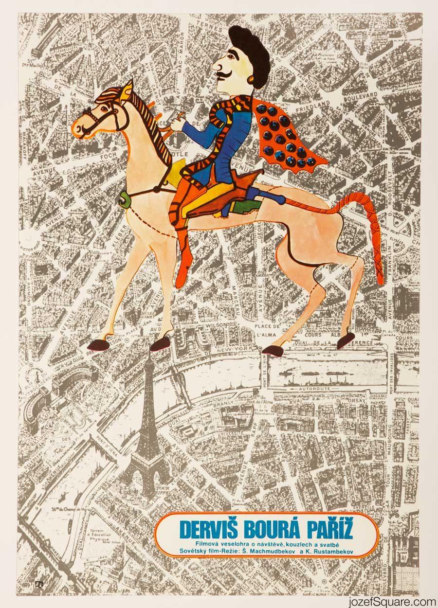 Darvish Explodes Paris Movie Poster, Illustrated Poster Art