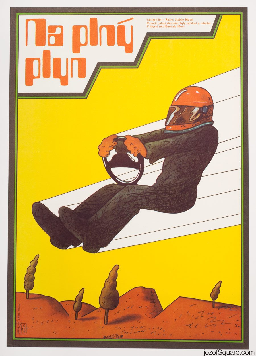 Highway Racer Movie Poster, Vratislav Hlavaty, 70s Artwork