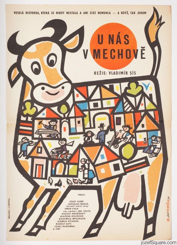 At Ours in Mechov Movie Poster, Illustrated 60s Poster Artwork