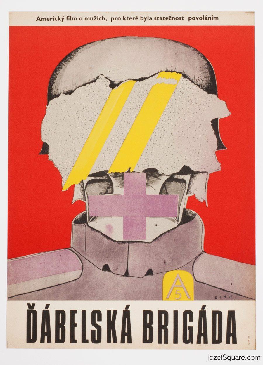 The Devil's Brigade Movie Poster, 60s Poster Design, Karel Machalek