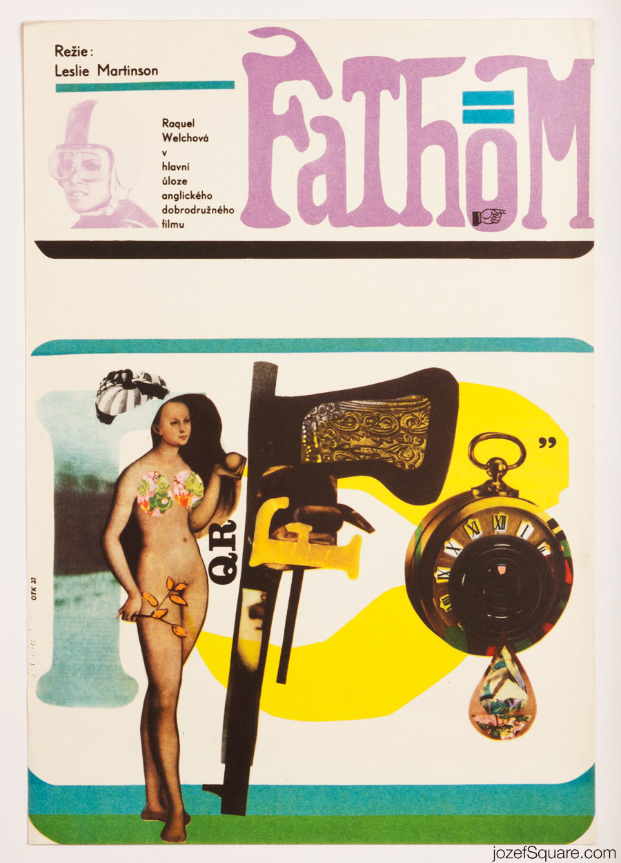 Fathom Movie Poster, 60s Collage Art, Raquel Welch