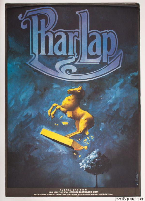 Phar Lap Movie Poster, 80s Illustrated Poster Design