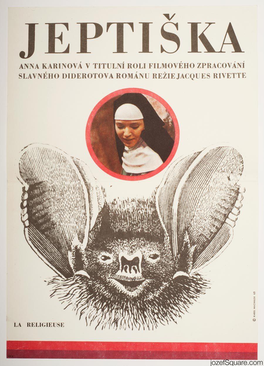 The Nun Movie Poster, Anna Karina, 60s Poster Art