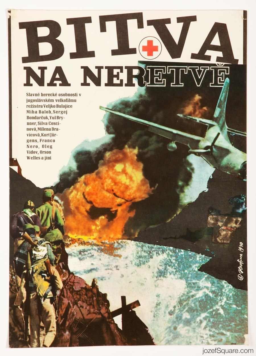 The Battle on the River Neretva Movie Poster, 70s Poster Art