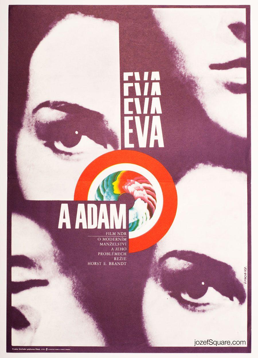 Eva and Adam Movie Poster, Karel Vaca, 70s Poster Art