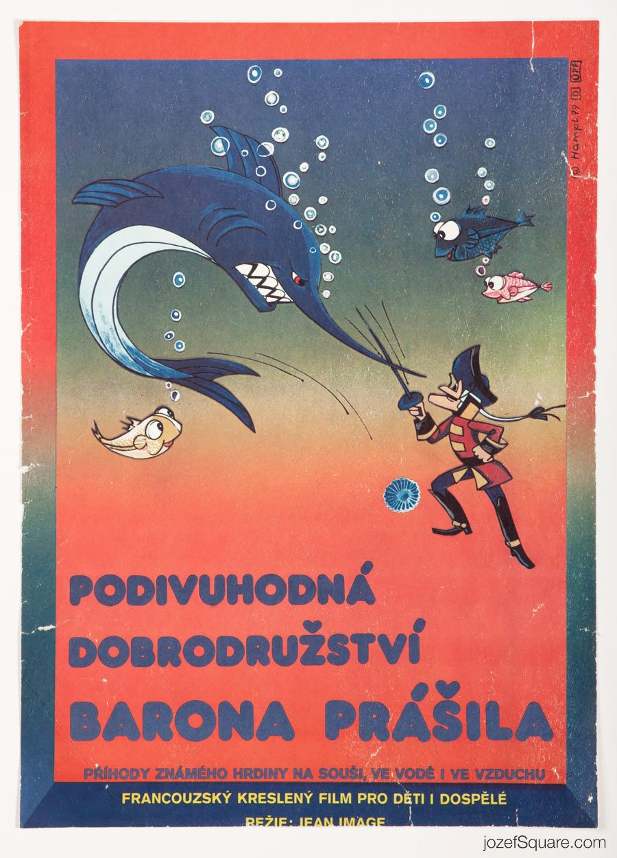 Baron Münchhausen Movie Poster, 70s Kids Poster Art