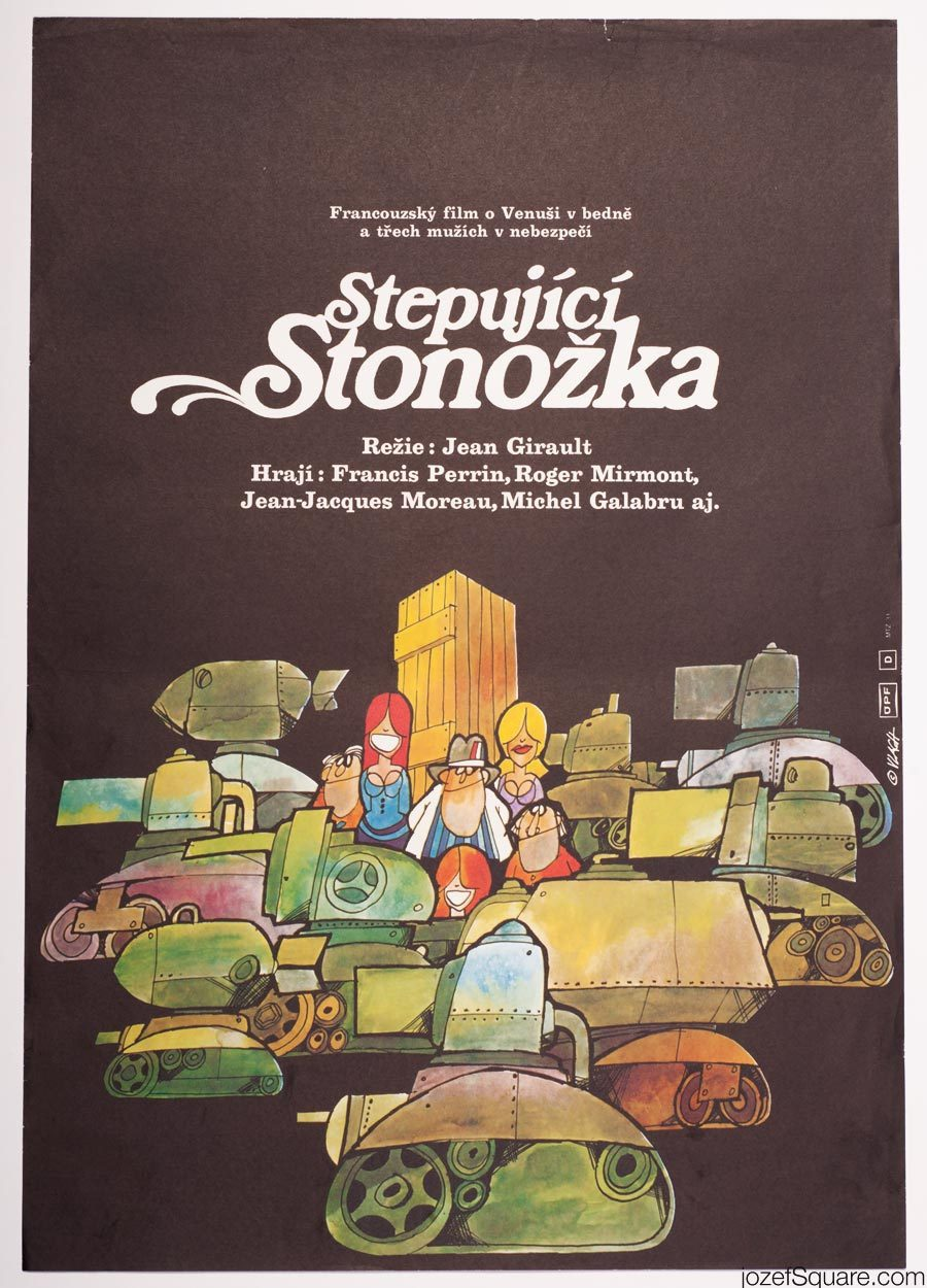 Zdenek Vlach Movie Poster, 70s Illustrated Artwork