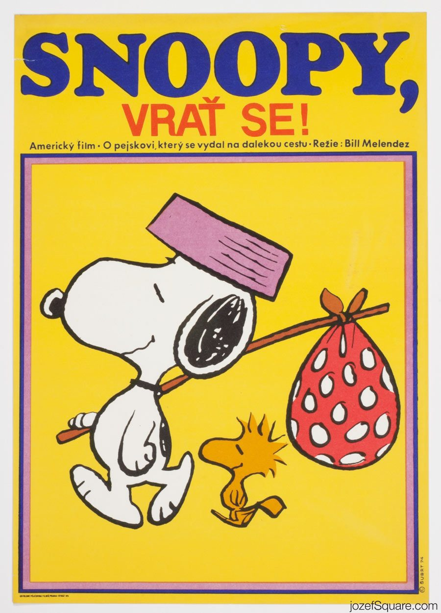 Snoopy Come Home, Kids Movie Poster, 70s Artwork