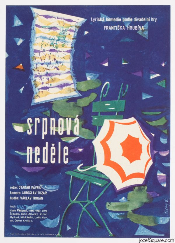 Karel Teissig, August Sunday, 60s Cinema Poster