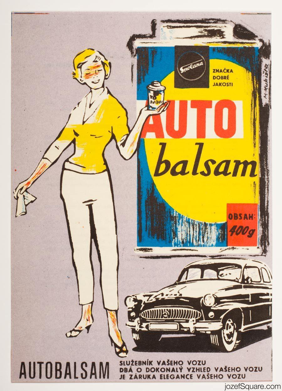 Advertising Poster, Auto Balsam, Spolana, 60s Artwork
