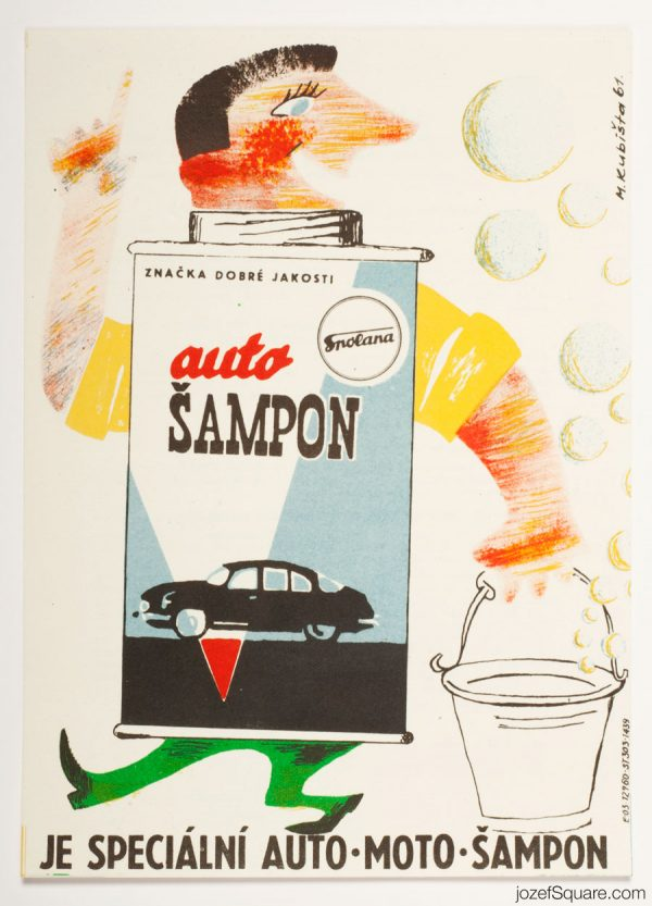 Advertising Poster, Auto Shampoo, Spolana, 60s Artwork