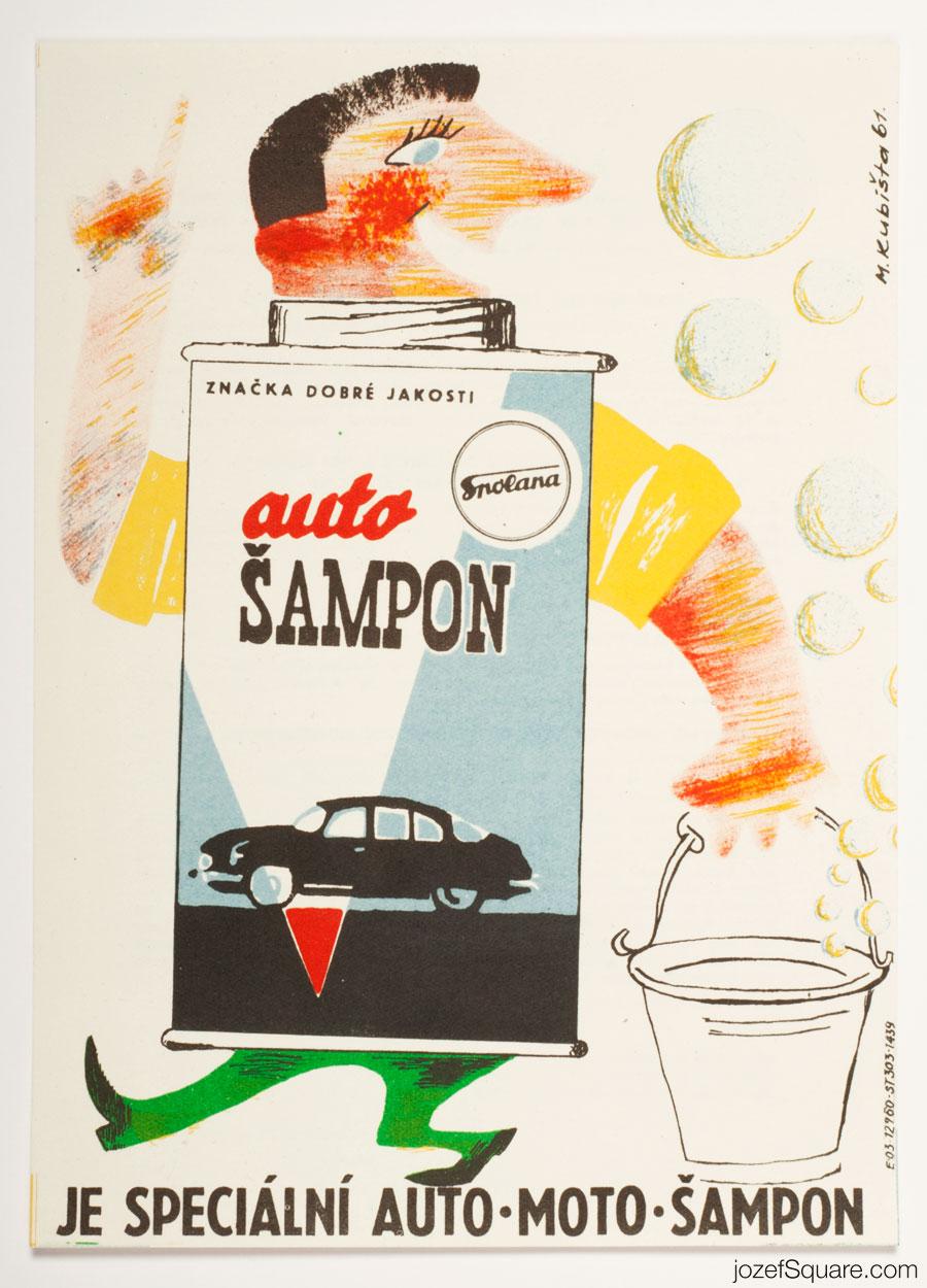 Advertising Poster, Auto Shampoo, Spolana, 60s Artwork