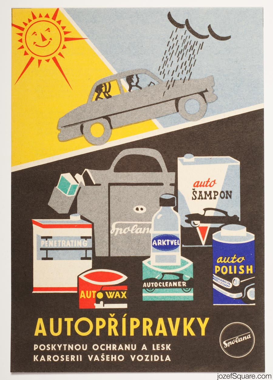 Advertising Poster, Car Care, Spolana, 60s Artwork