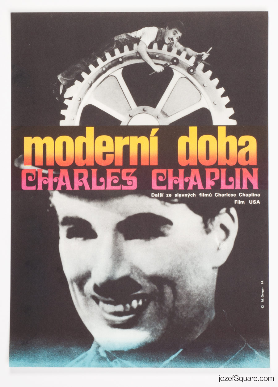 Modern Times Movie Poster, Charlie Chaplin, 70s Poster Art