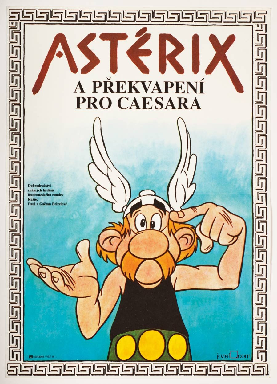 Asterix and Caesar Movie Poster, 80s Kids Poster Art