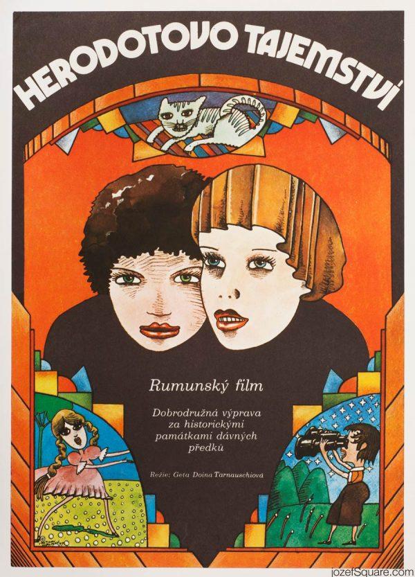 Vratislav Hlavaty The Mystery of Herodotus, Kids Movie Poster, 70s Artwork