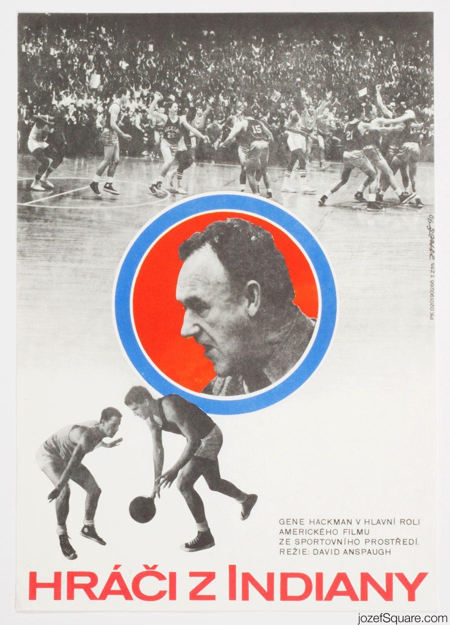 Hoosiers Movie Poster, Gene Hackman, 90s Cinema Art