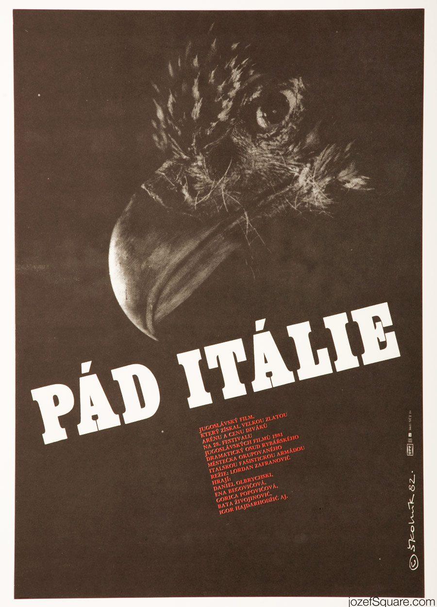 Minimalist Movie Poster, The Fall of Italy, 80s Cinema Art