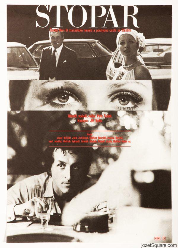 Movie Poster, The Hitchhiker, 70s Montage Design, Milan Grygar