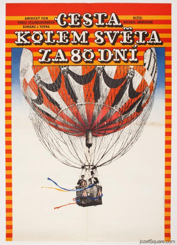 Around the World in 80 Days, Kids Movie Poster, 70s Cinema Art