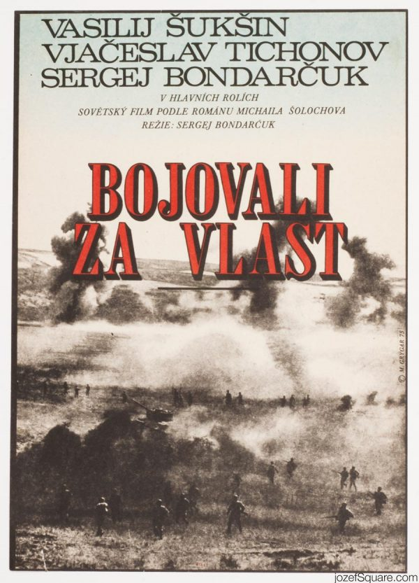 Movie Poster, They Fought for Their Country, 70s Artwork, Milan Grygar