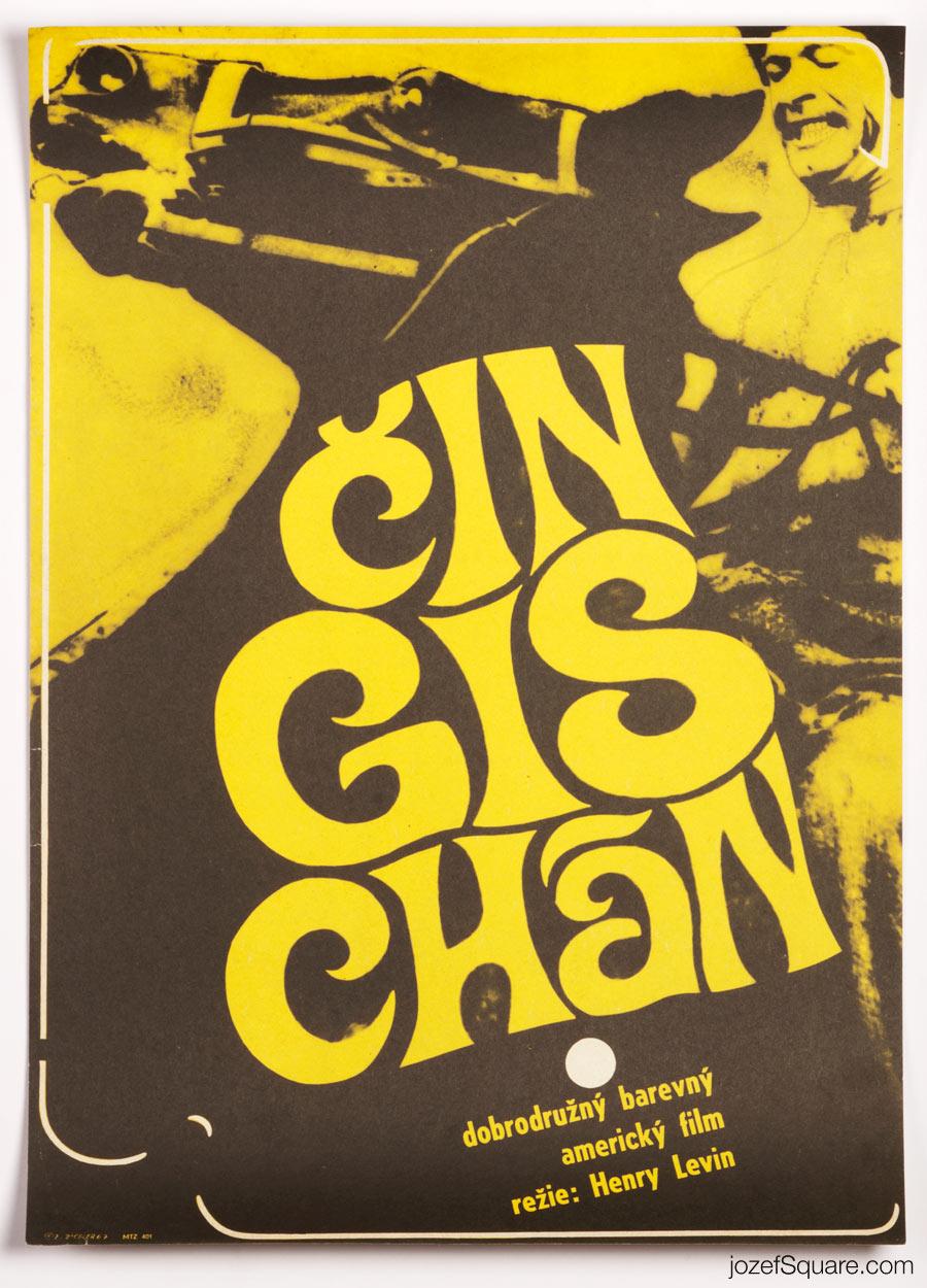 Genghis Khan Movie Poster, 60s Cinema Art, Zdenek Ziegler