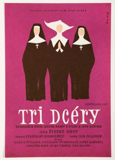 Three Daughters Movie Poster, Minimalist Movie Poster, 60s Cinema Art