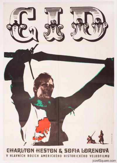 Movie Poster El Cid, Karel Machalek, 60s Cinema Art