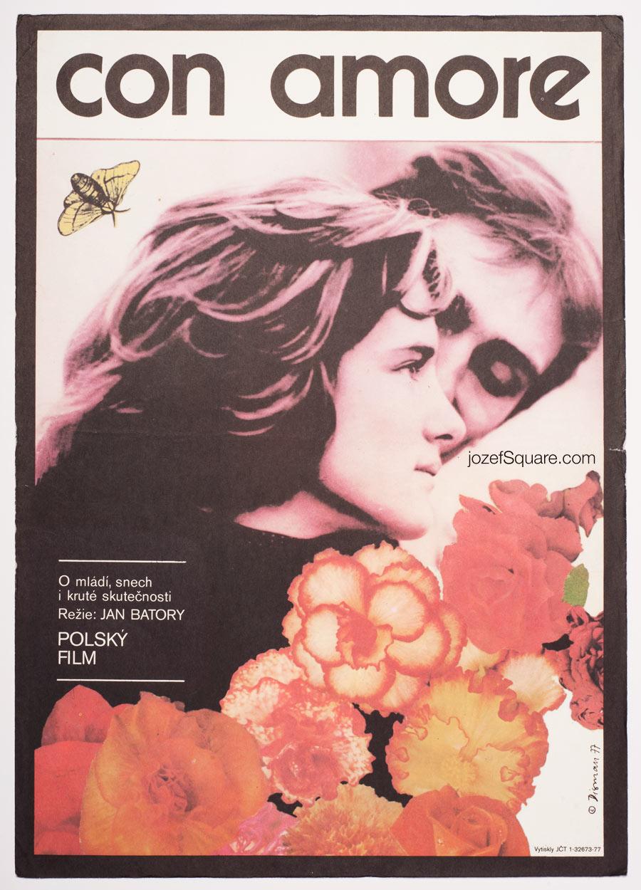 Con Amore Movie Poster, 70s Cinema Art